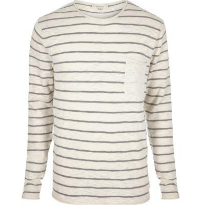 Ecru gestreept T-shirt met ronde hals en lange mouwen