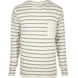 Ecru stripe crew neck long sleeve T-shirt