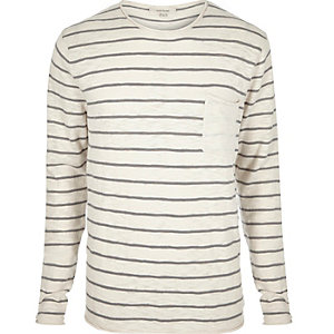 Ecru stripe crew neck long sleeve T-shirt