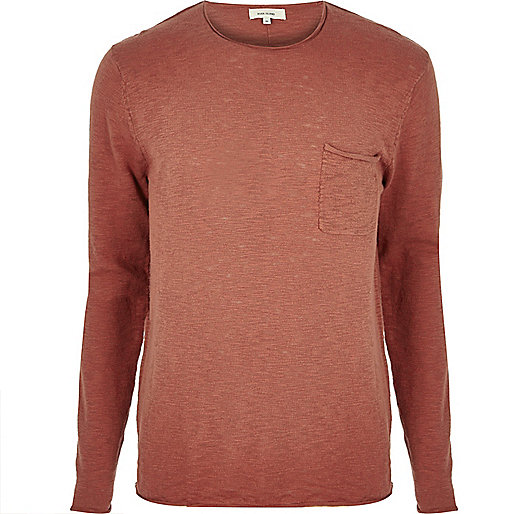 Orange crew neck top