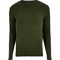 Green ribbed slim fit long sleeve T-shirt