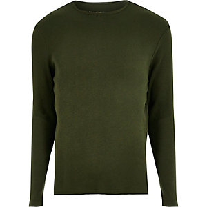 Green ribbed slim fit long sleeve T-shirt