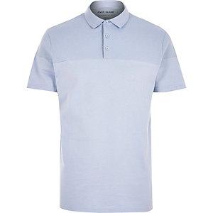 Blue ribbed panel polo shirt
