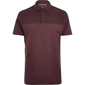 Burgundy ribbed panel polo shirt