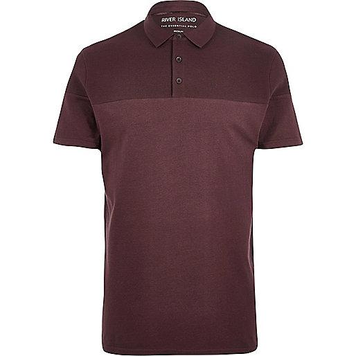 Burgundy ribbed panel polo shirt
