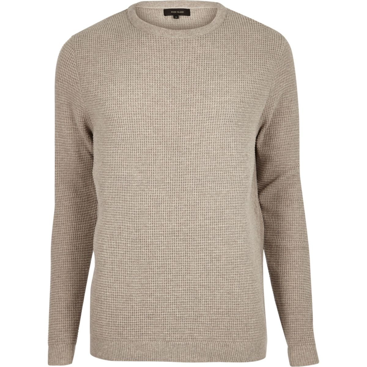 Stone beige textured waffle sweater
