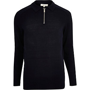 Navy zip-up polo sweater
