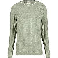 Grüner, gerippter, schmaler Pullover mit Rundhalsausschnitt