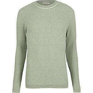 Green ribbed crew neck slim sweater