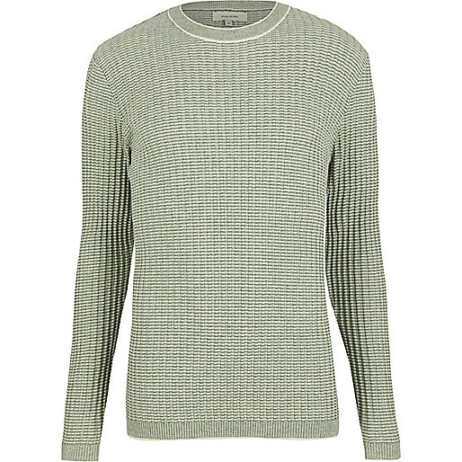 Green ribbed crew neck slim jumper
