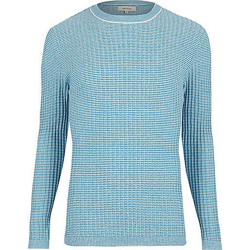 Light blue ribbed crew neck slim sweater