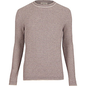 Purple ribbed crew neck slim sweater