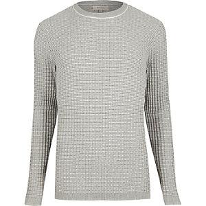 Grey ribbed crew neck sweater