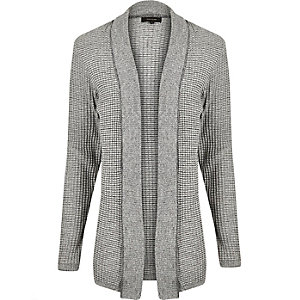 Light grey textured knitted cardigan