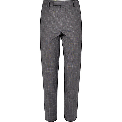 Blue checked skinny suit trousers