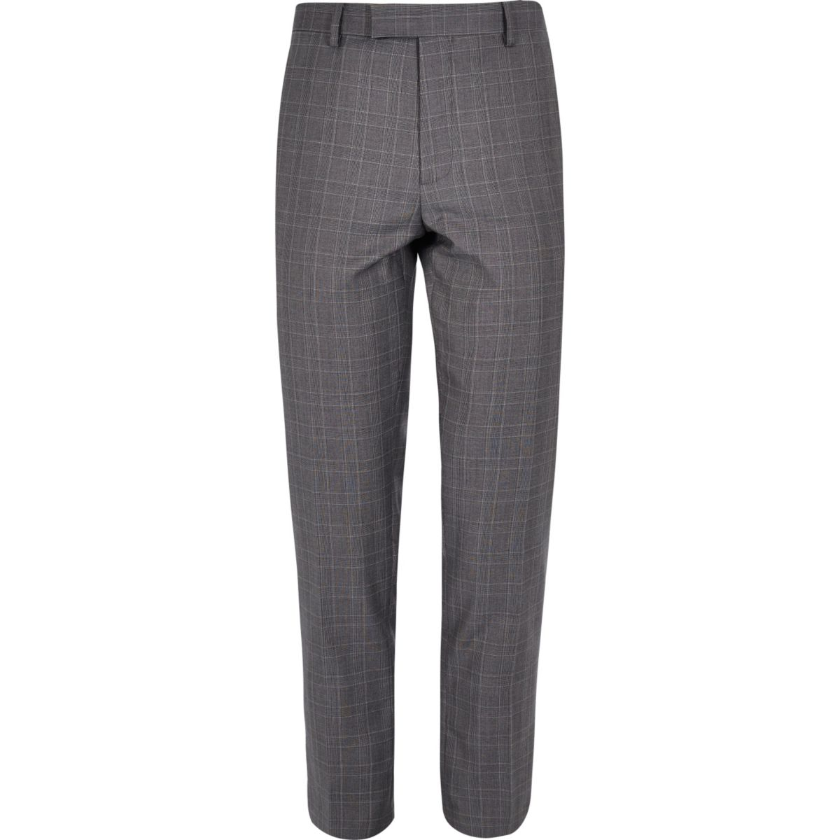 Blue checked skinny suit pants