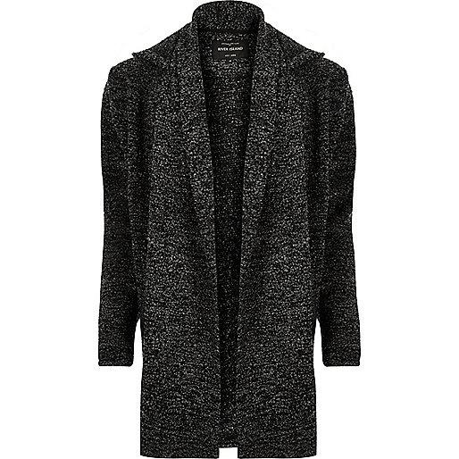 Grey textured hooded cardigan