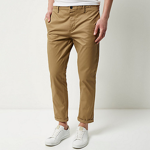 Brown stretch cropped slim chino pants