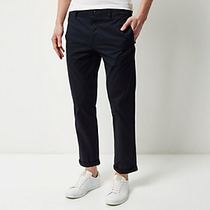Navy stretch slim cropped chino trousers
