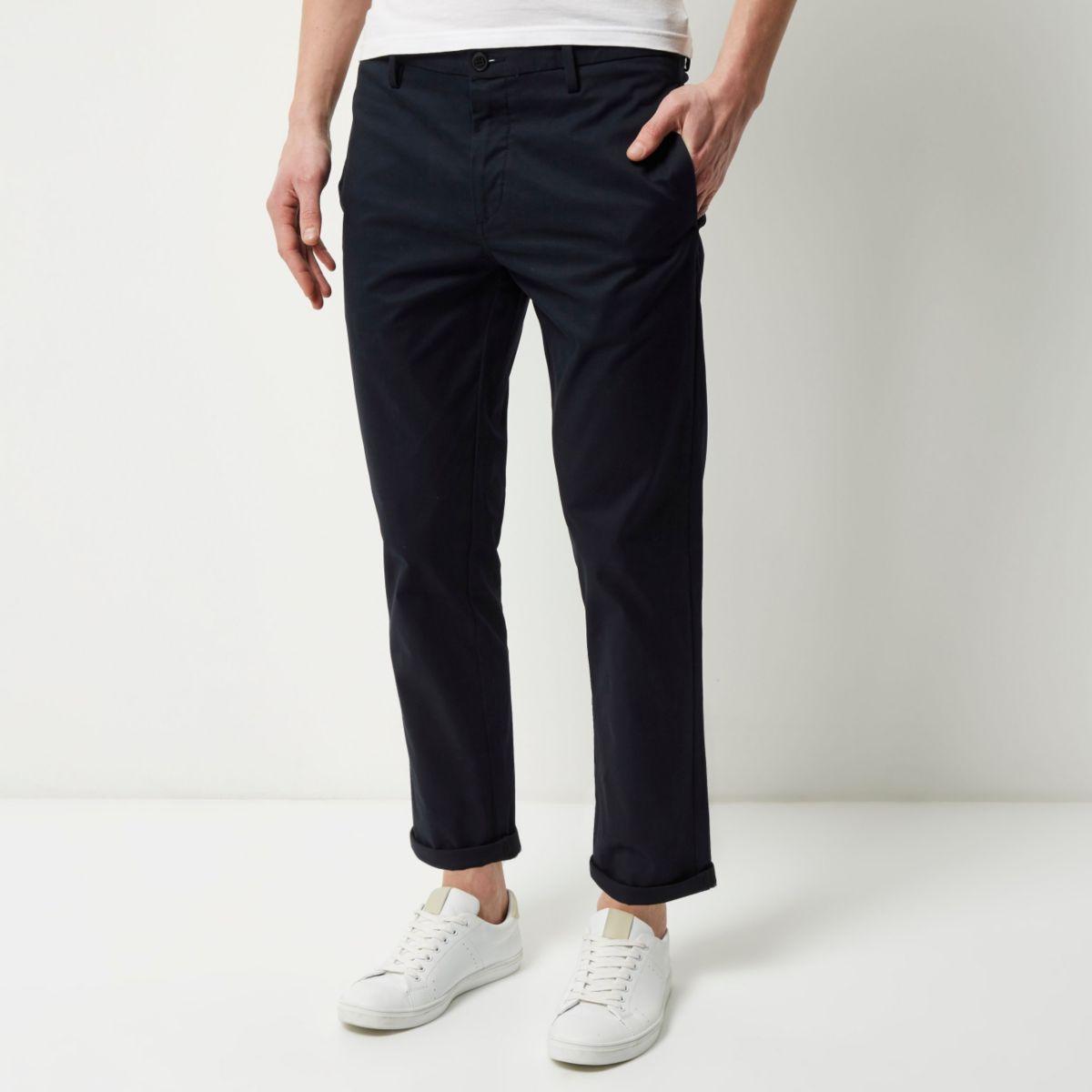 Navy stretch slim cropped chino pants
