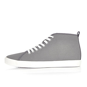 Grey demi lace-up hi tops