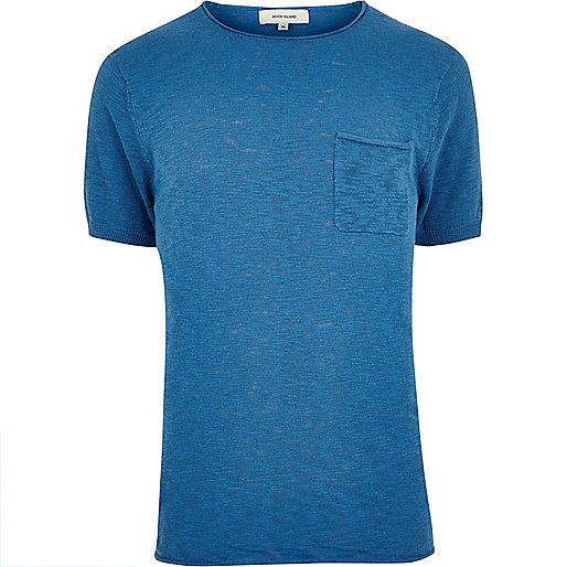 Blue crew neck short sleeve top