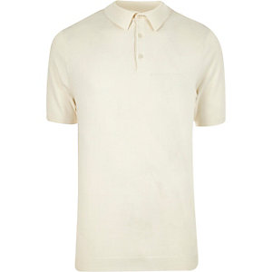 Ecru knitted polo shirt