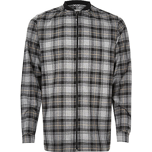 Grey check flannel baseball shirt
