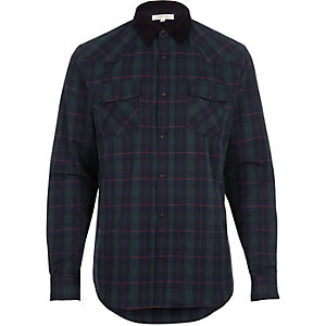 Green check western shirt