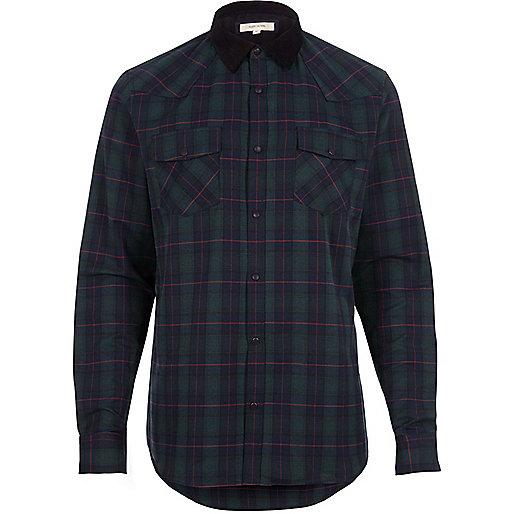 Green check western shirt