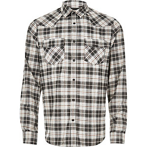 Ecru check flannel western shirt