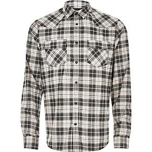 Chemise en flanelle à carreaux écrue style western