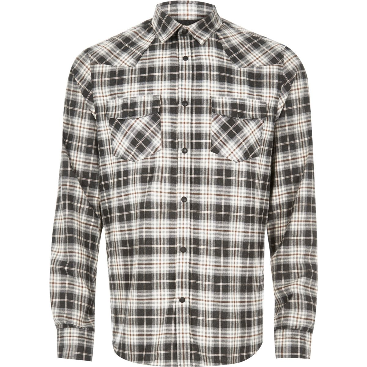 Ecru check flannel western shirt