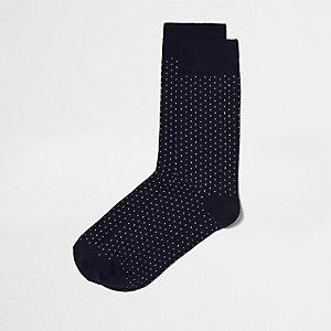 Chaussettes à pois bleu marine