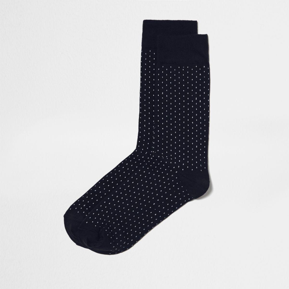 Navy polka dot socks