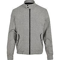 Grey check funnel neck harrington jacket