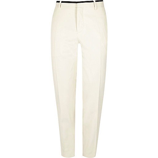 White skinny suit trousers