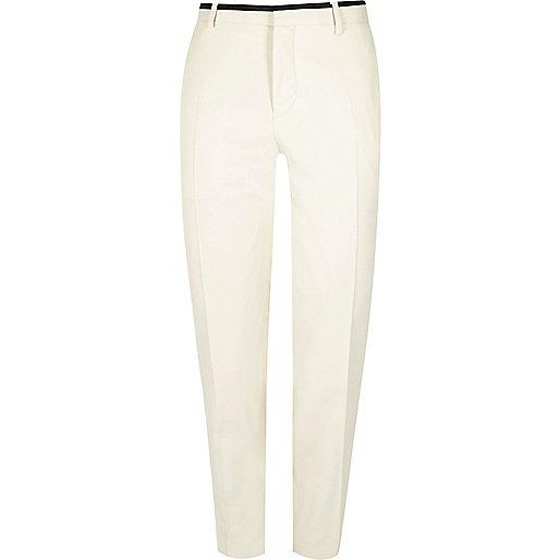 White skinny suit pants