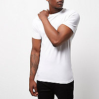 White muscle fit crew neck T-shirt