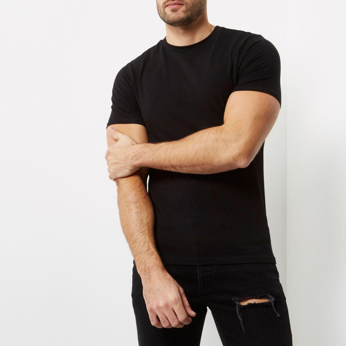 Black muscle fit crew neck T-shirt - T-shirts - T-Shirts & Tanks - men