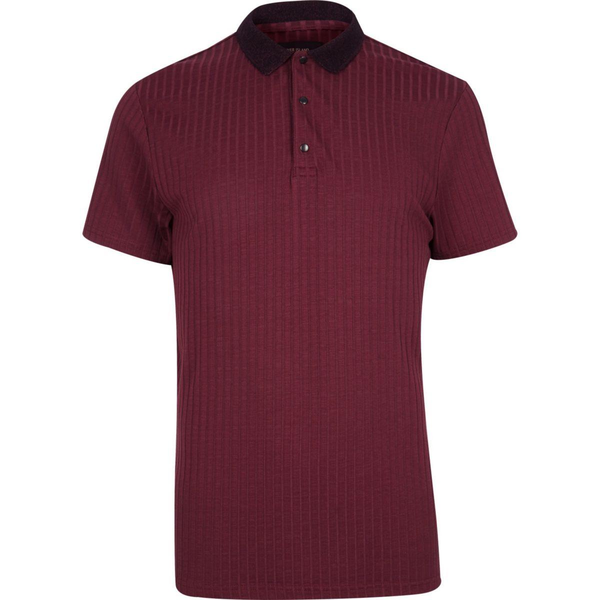 Burgundy ribbed polo shirt