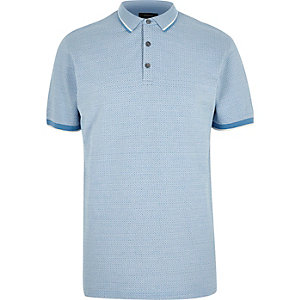 Blue diamond jacquard polo shirt