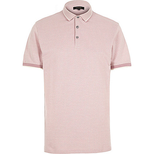 Pink diamond jacquard polo shirt