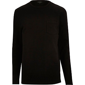 Black long sleeve pocket sweat
