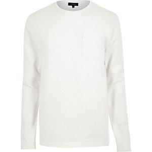 White long sleeve pocket sweat