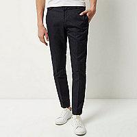Pantalon bleu marine texturé