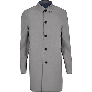 Grey smart checked mac coat