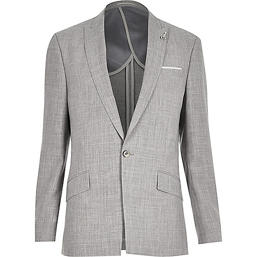 Grey slim fit suit jacket