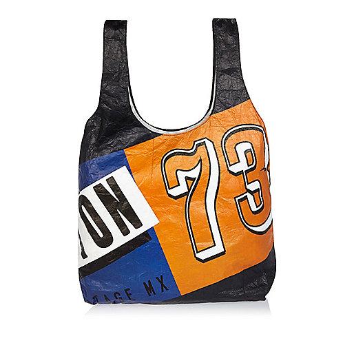 Navy Lou Dalton printed shopper bag