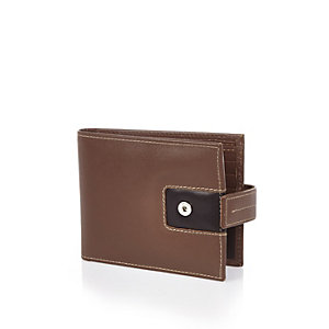 Dark brown colour block wallet